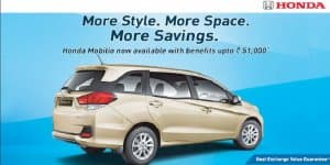 Honda Mobilio offered with benefits up to Rs. 51,000