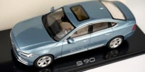 Volvo S90 scale model in Liquid Blue photographed