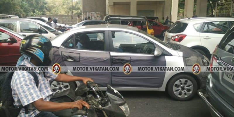 Hyundai Xcent facelift spied testing in Chennai