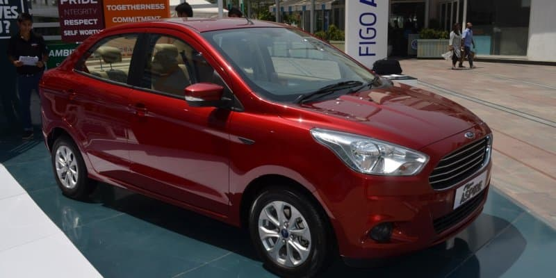 Ford Aspire S spied at a dealership ahead of its official launch