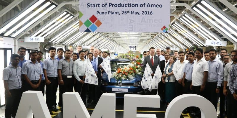 Volkswagen Ameo Production Starts; First Car Rolled out