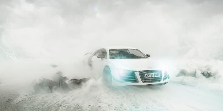 Independent artist photoshoots Audi R8 using toy car