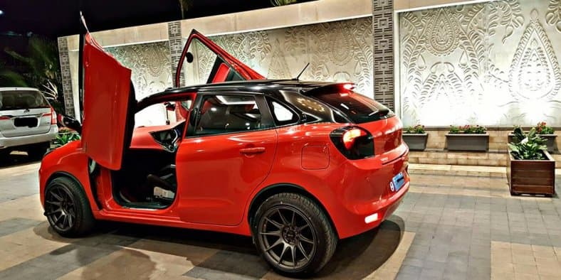 Customised Maruti Suzuki Baleno spotted with stylish scissor doors and sunroof